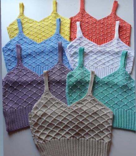 blusa feminina top cropped perola tricot alça regata