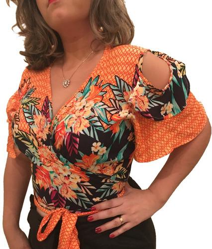 blusa feminina transpassada manga dupla - frete grátis