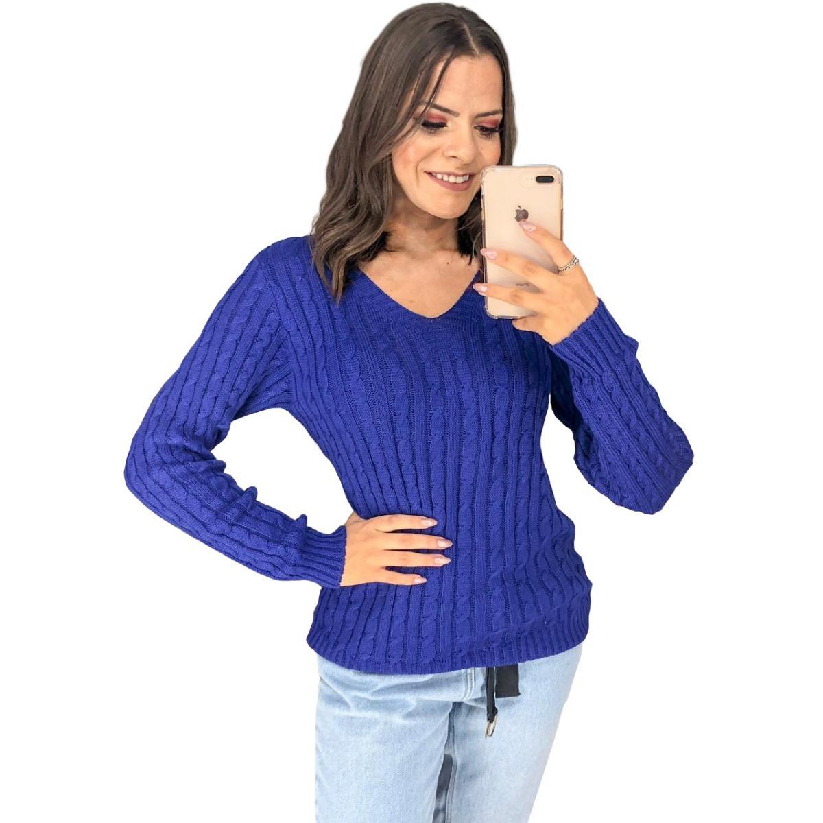 9a40caef61 blusa feminina trico tricot manga longa gola v frio barato. Carregando zoom.