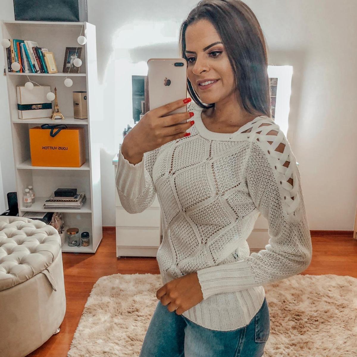 6bfa206a23 blusa feminina tricot quentinha outono inverno 2019  aj. Carregando zoom.