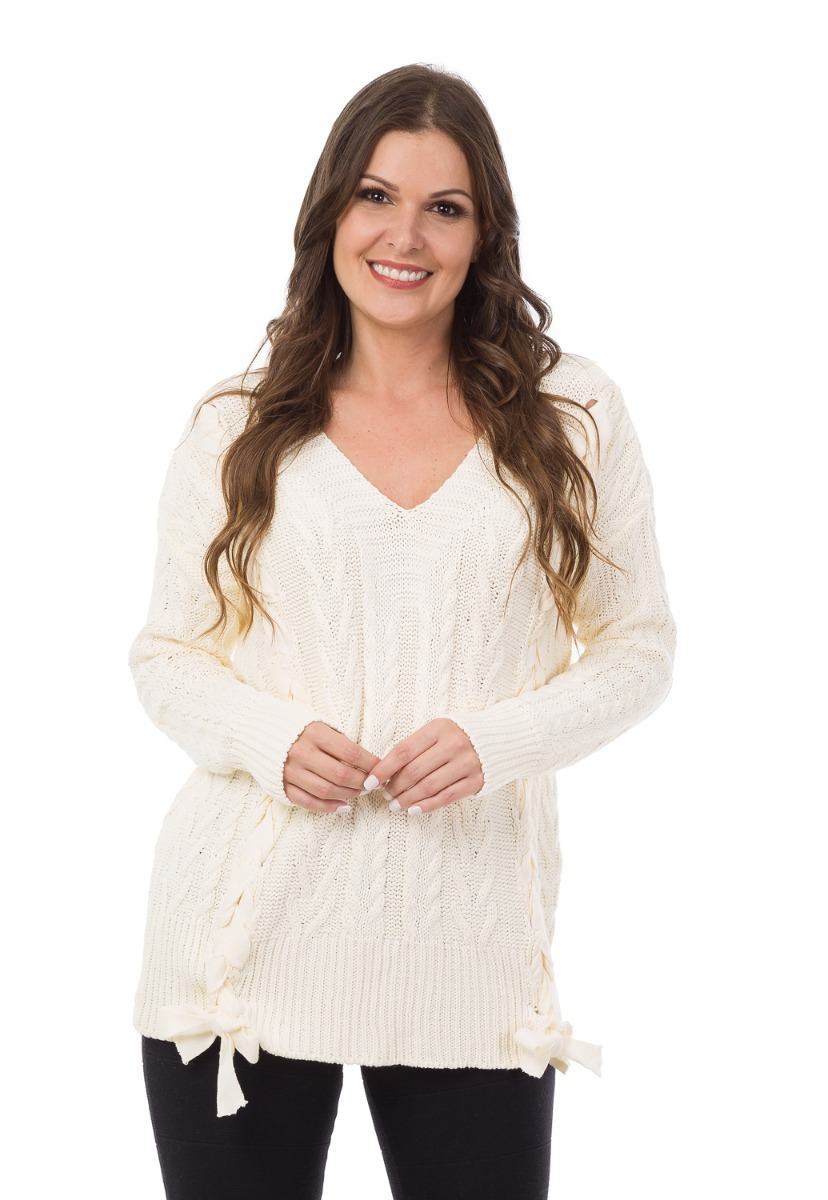 01b15a145d blusa feminina tricot tricô trança cordão manga longa frio. Carregando zoom.
