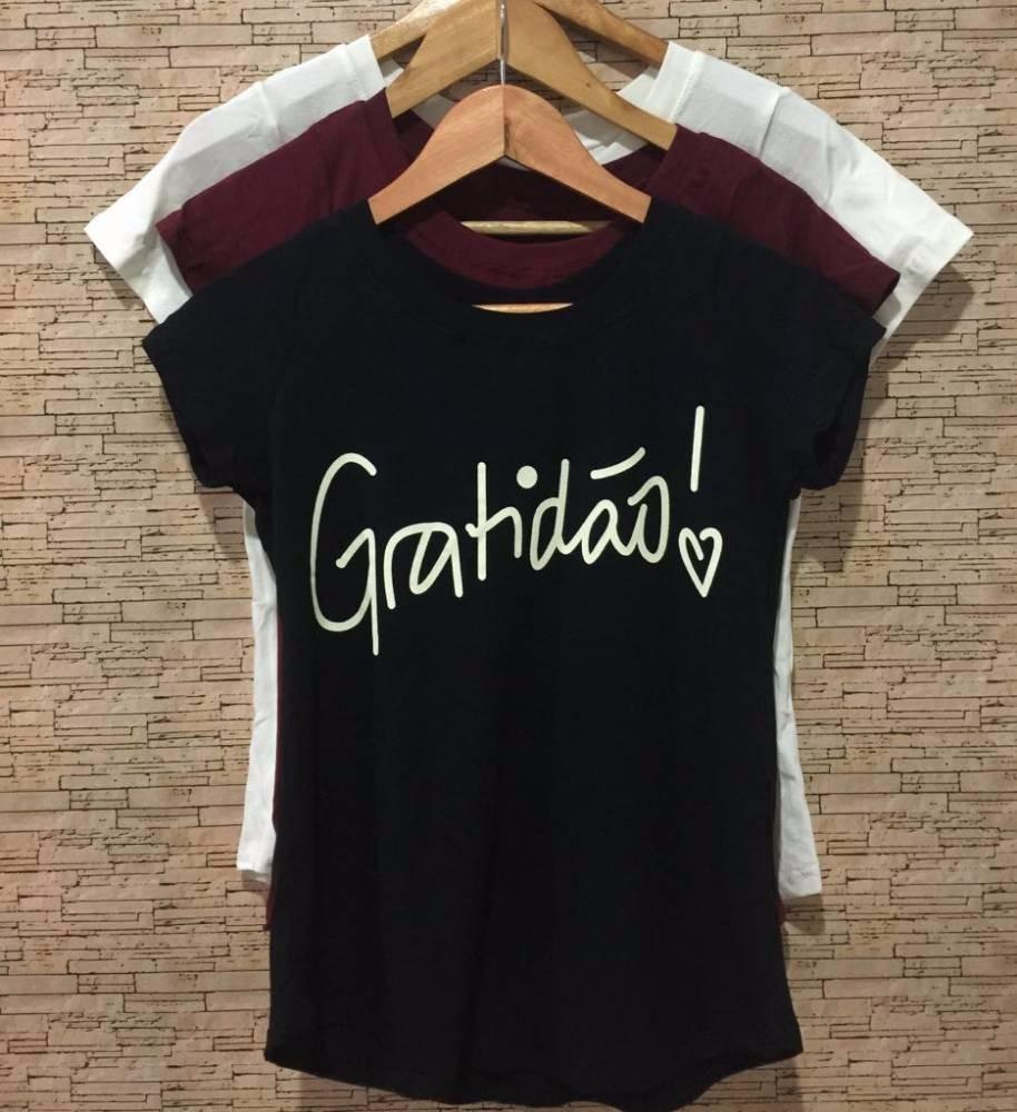 086a79743 blusa feminina tshirt estampada gratidão fenda decote 2017. Carregando zoom.