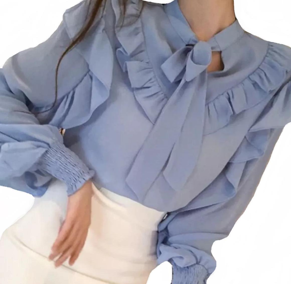 ccfea6d22b blusa feminino manga longa social detalhes de luxo foto real. Carregando  zoom.