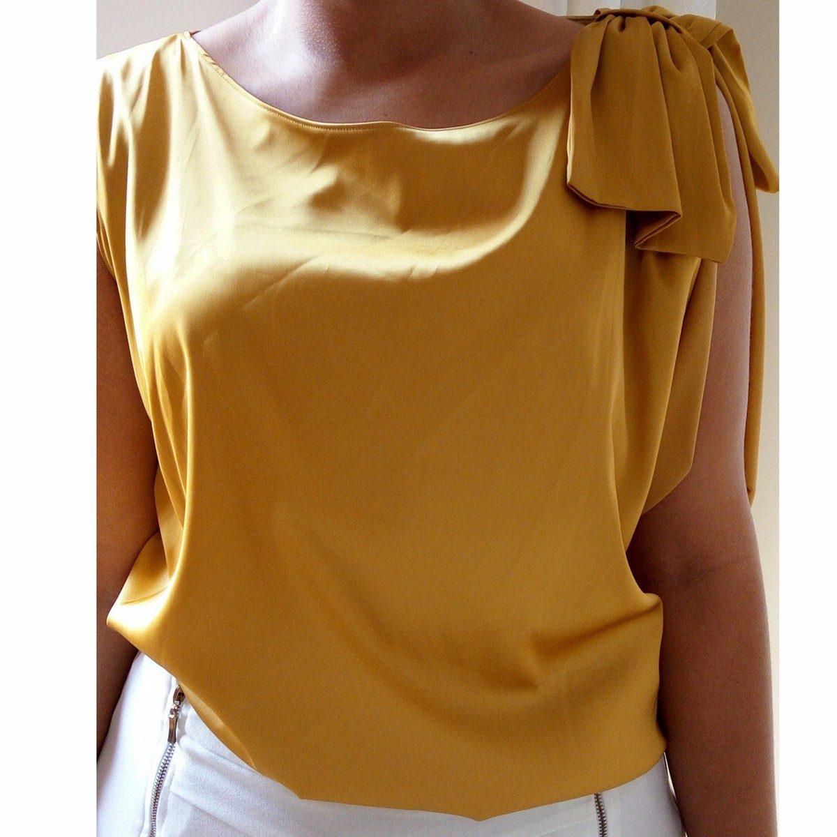 da3ec01f9 blusa festa cetim dourado elegante fresca e confortável. Carregando zoom.