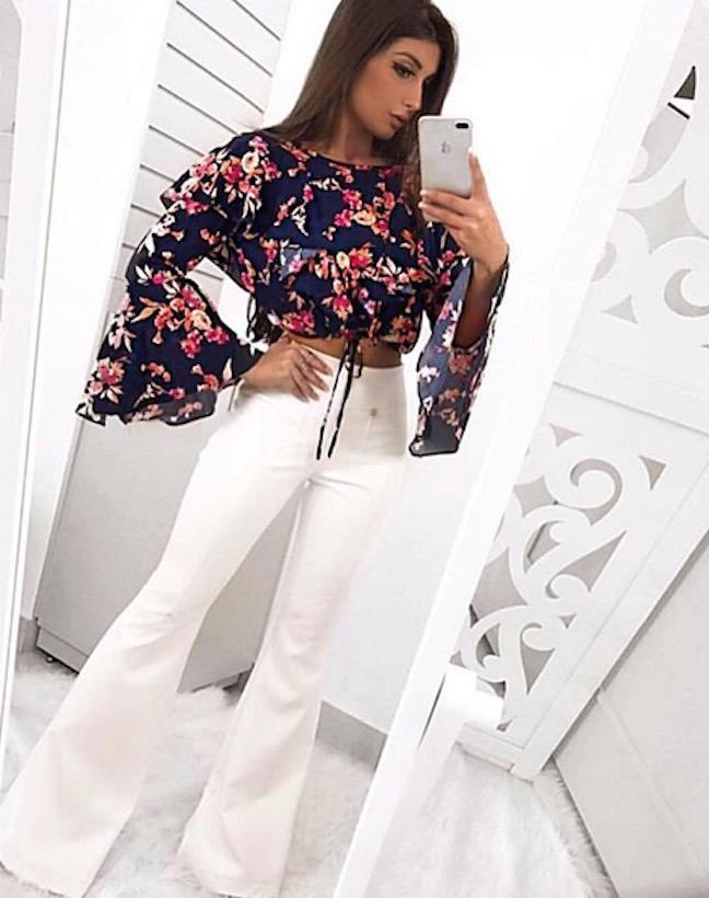 c41d4a5dcb Blusa Flare Florida Feminina Floral Camiseta Manga Longa - R  123