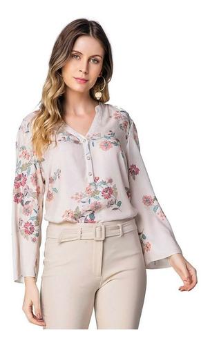 blusa floral manga sino em viscose seiki 621184