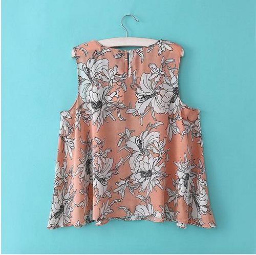 blusa floreada sin mangas poliester primavera verano 2018