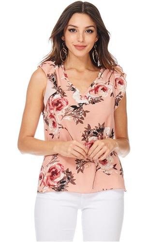 blusa flores manga volantes