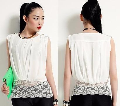 blusa formal corta sin mangas moda asiática