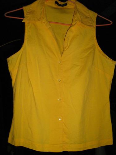 blusa formal verano amarilla  basement talla s escote v