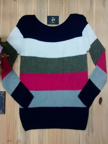 blusa frio femenina sueter tricot brilho brilhante listrada