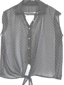 a9924bc94 Camisa Negra Con Puntos Blancos Camisas Chombas Blusas Mujer - Ropa ...