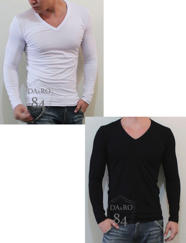 blusa gola v slim fit masculina