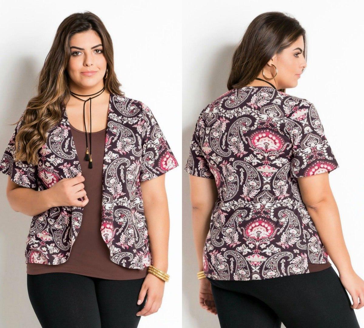 dcea8b703f blusa gordinha plus size manga curta estampada moderna. Carregando zoom.