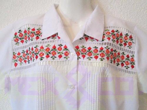 blusa guayabera dama yucatán artesanía méxico