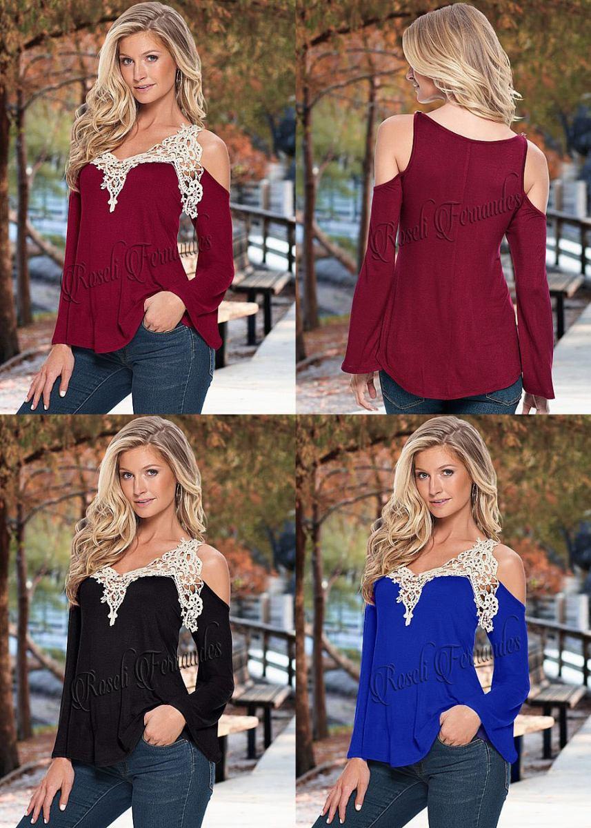 57f7633e4 blusa guipir blusa peplum feminina renda c/manga longa roupa. Carregando  zoom.