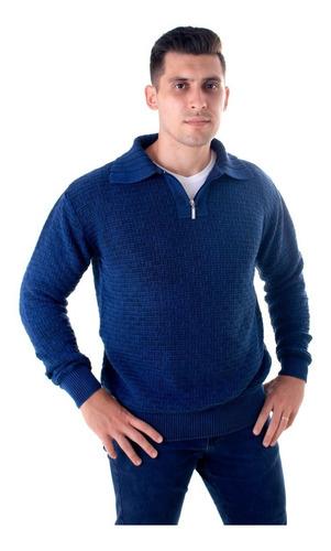 blusa inverno suéter meio ziper gola polo algodão masculino