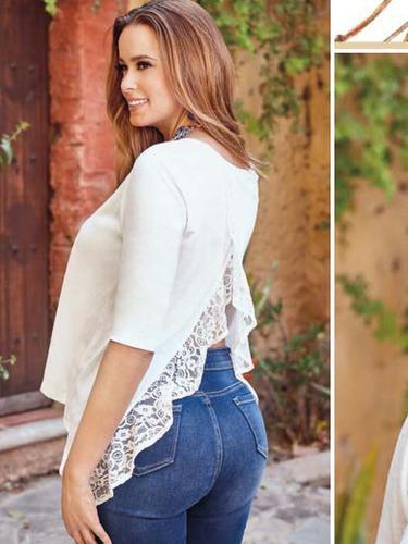 blusa ivory con encaje en espalda moda club