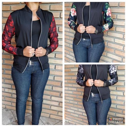 blusa jaqueta bomber blazer com ziper moda blogueira estampa