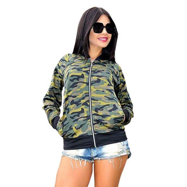 79020c646 Blusa Jaqueta Feminina Bomber Militar Camuflada - R$ 34,00 em ...