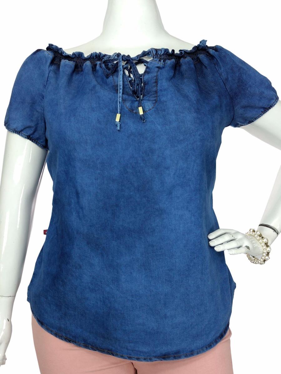 b22d1d1543 Blusa Jeans Ciganinha Feminina Bata Plus Size Tamanho Grande - R ...
