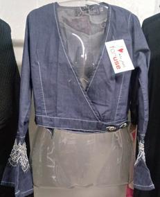 98d216be7 Blusa Jeans Manga Flare - Calçados, Roupas e Bolsas com o Melhores ...