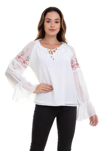 blusa kinara crepe chiffon bordada branco