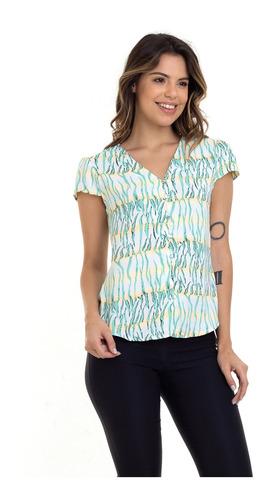 blusa kinara crepe estampada botões verde