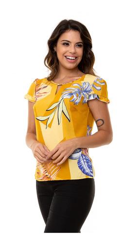 blusa kinara crepe estampada gola trançada amarelo