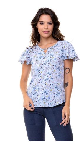 blusa kinara crepe floral decote gota azul