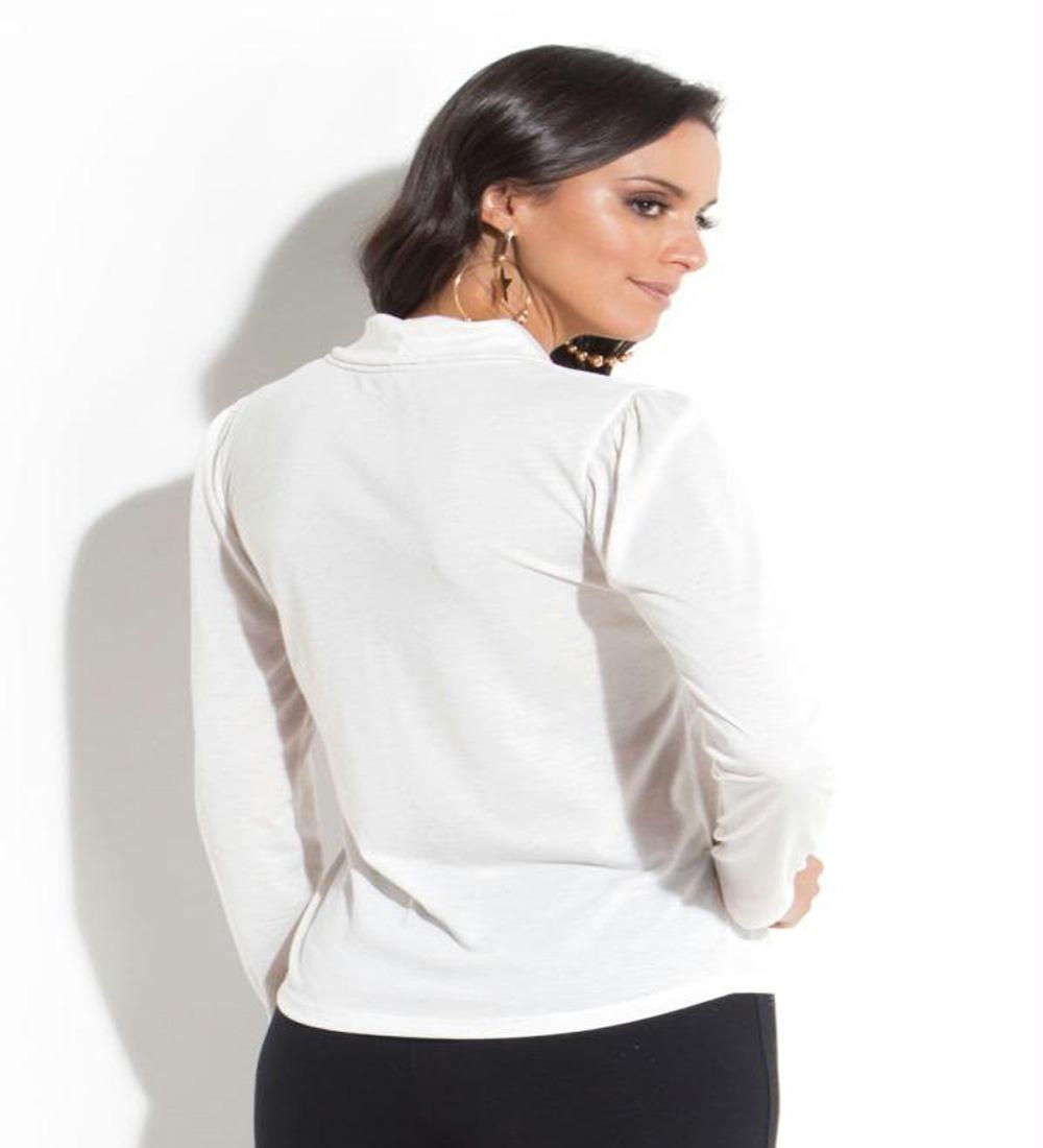 2129e1653 Blusa Laço Decote Off White - Quintess - R$ 80,00 em Mercado Livre