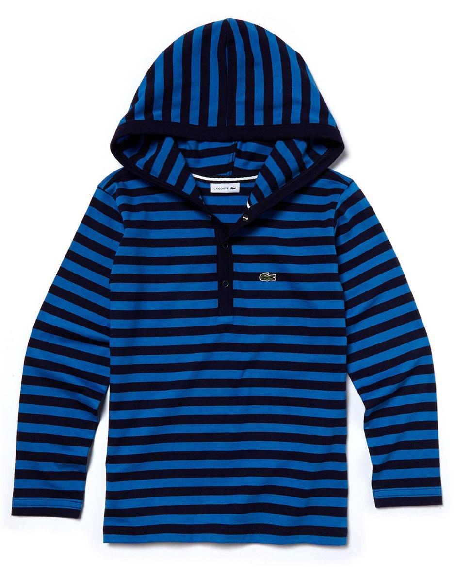 blusa lacoste infantil manga longa listrada azul com capuz. Carregando zoom. 4865d9cddb