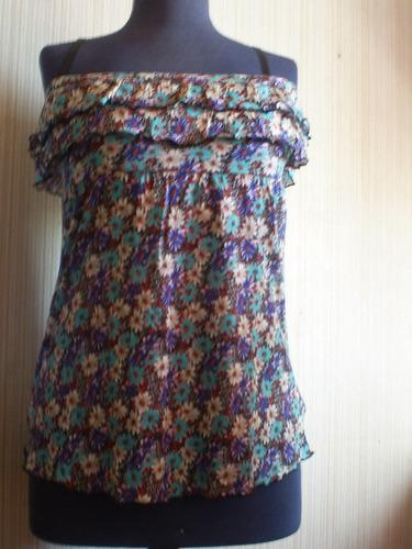 blusa larga moda flores talla l  ,  nueva