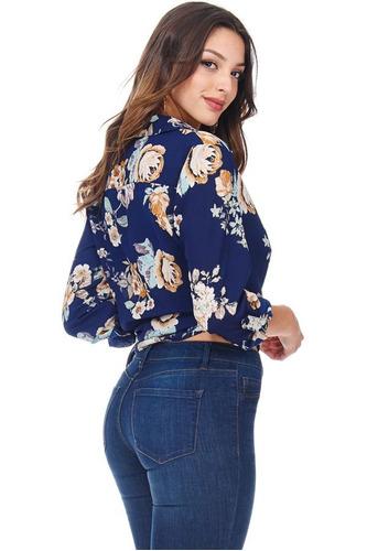 blusa lazo cruzada estampado floral