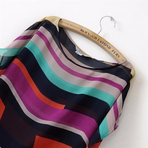 blusa listrada chiffon