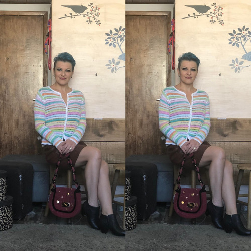 blusa listrada colorida tam p david brooks linho algodão