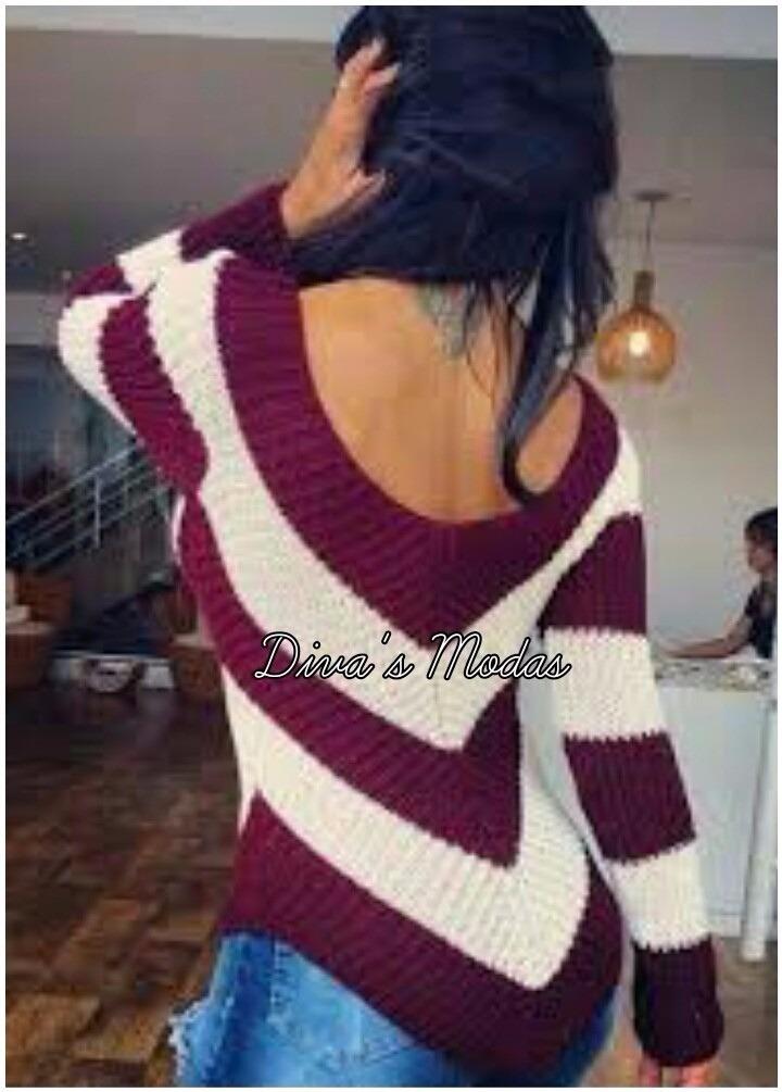 3db599ab5 blusa listrada tricot croche feminina em v moda momento. Carregando zoom.