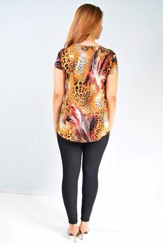 blusa malha estampa animal print prega costas