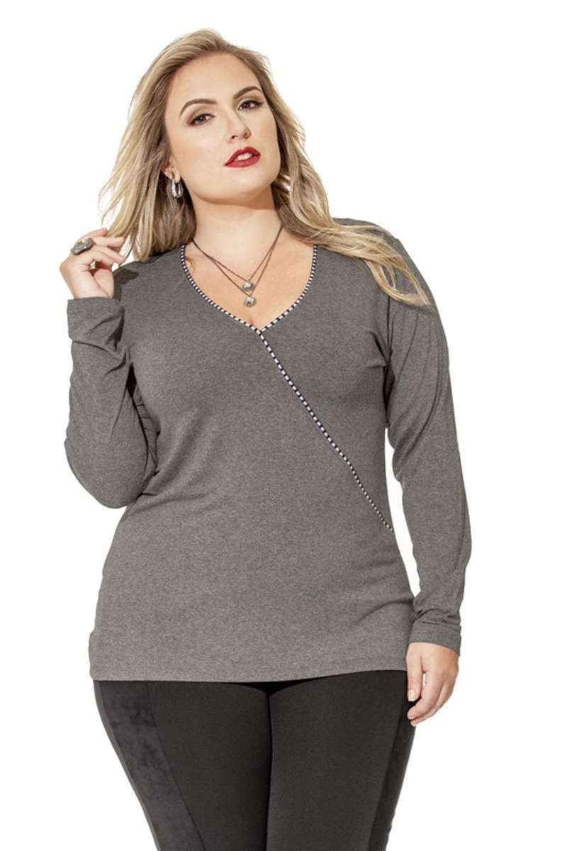 2b76e5f1a9 blusa malha feminina cachequer plus size tamanho grande. Carregando zoom.