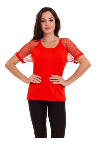 blusa malha manga tule vermelho kinara