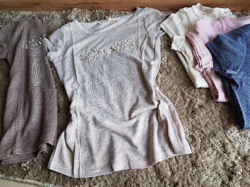 blusa malha mesclada brilho com estampa em pedraria