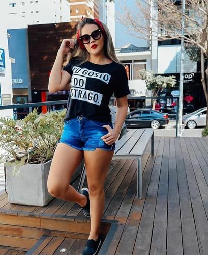 adf2140d83cd Blusa Malha T-shirts Manga Frases Moda Kit 7 Peças Atacado - R$ 135 ...