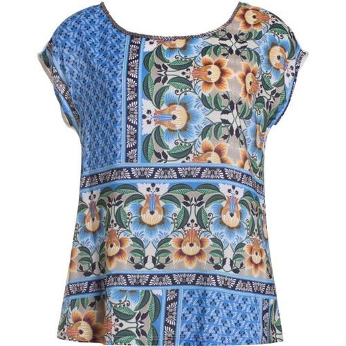 blusa malha viscose estampada seiki 231528 - azul