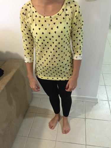 blusa manga 3/4 amarela de coraçao
