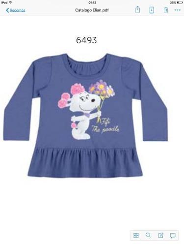 blusa manga comprida bebê menina elian 6 à 9 meses