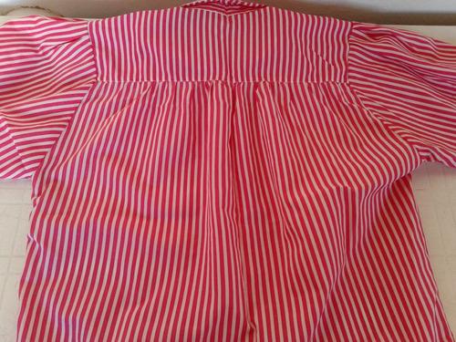 blusa manga corta rallada rojo y blanco una postura!