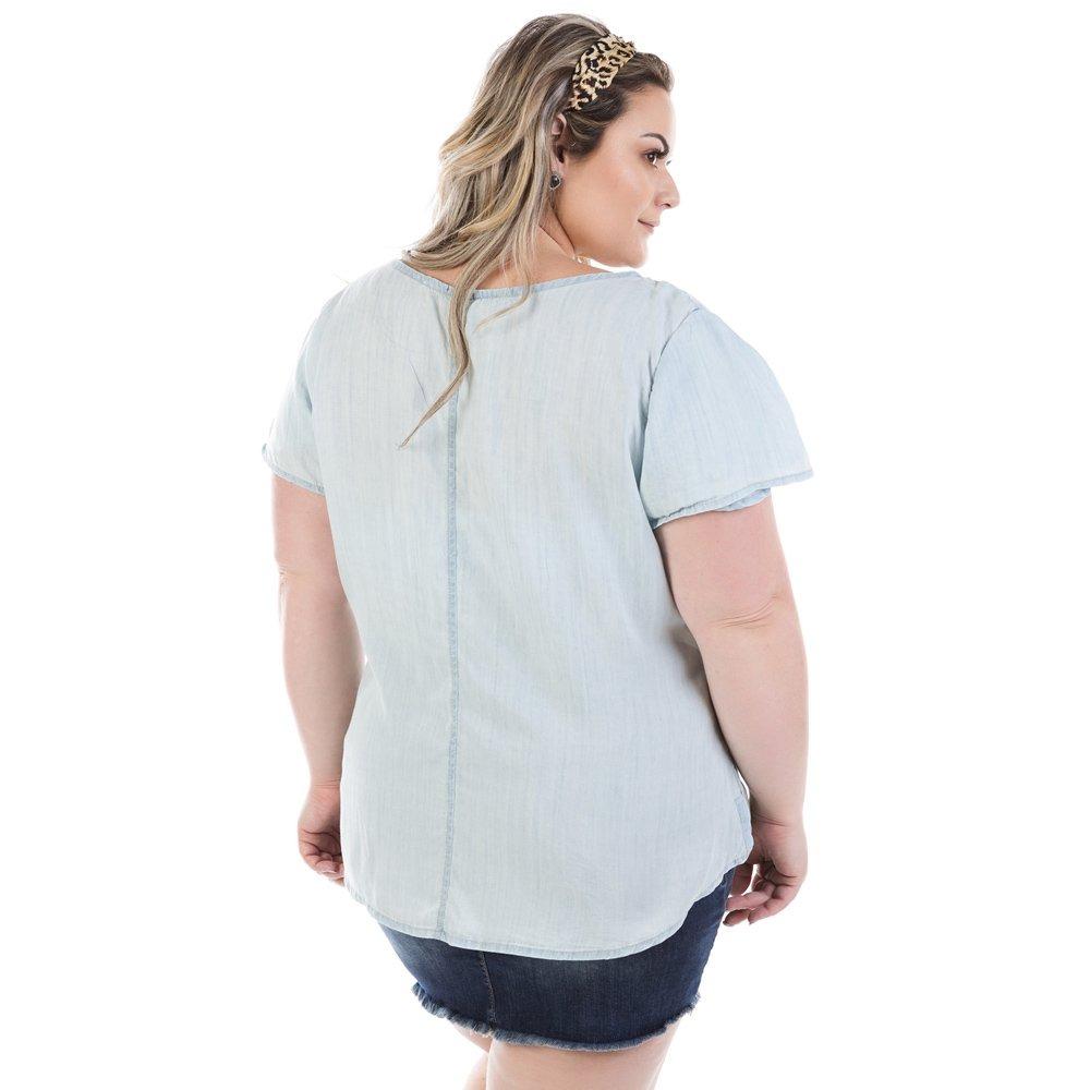 5ee555809 blusa feminina manga curta com pedraria plus size bvm209. Carregando  zoom... blusa manga curta. Carregando zoom.