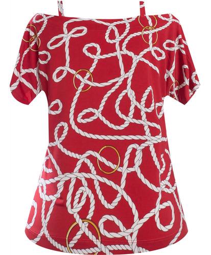 blusa manga curta ciganinha estampada com alças seiki 631176