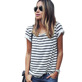 a728b36f05 Blusa Listrada Preto E Branco Manga Curta Feminino - Camisetas e ...