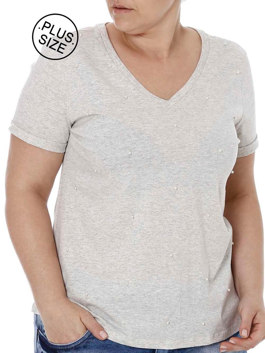 a79cf940b blusa manga curta plus size feminina cativa cinza. Carregando zoom.